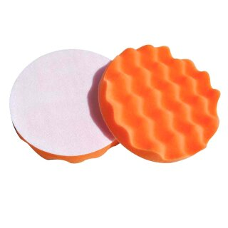 2x Polierschwamm gewaffelt, orange 180mm, MEDIUM