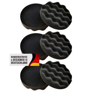 6x polishing sponge waffled, gray 150 mm, SOFT MEDIUM
