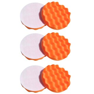 Honeycombed 6x polishing sponge, orange 150 mm MEDIUM