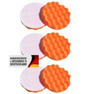 6x Polierschwamm gewaffelt, orange 150 mm, MEDIUM