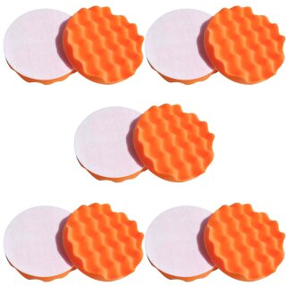 10x Polierschwamm gewaffelt, orange 150 mm, MEDIUM