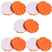 10x Polierschwamm gewaffelt, orange 180 mm, MEDIUM