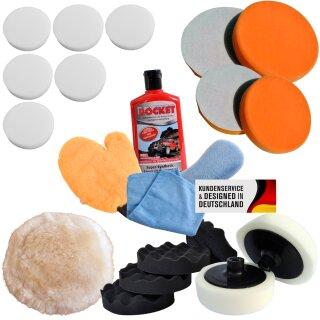 Polishing pads set of 4, 21 pieces with polish