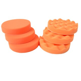 Polierschwamm Set 3 x orange 150mm + 3 x orange gewaffelt 150mm